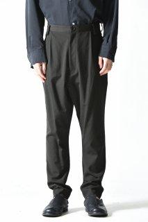 BISHOOL Wool Gabardine Slim Slacks / Dark Khaki