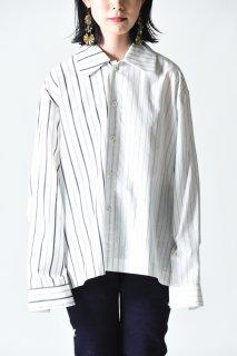 VOAAOV ストライプボックスショートシャツ white