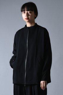 BISHOOL Wool Gabardine Dolman Sleeve Stand Jacket