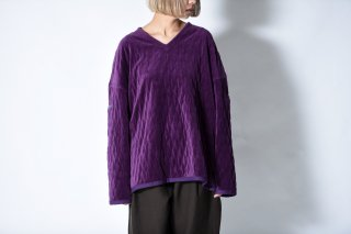 tac:tac QUILTING VELOUR PULLOVER purple
