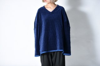 tac:tac QUILTING VELOUR PULLOVER navy