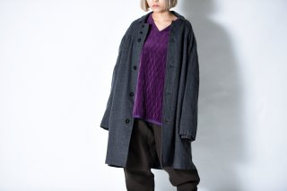 tac:tac COTTON WOOL FLANNEL GATHER COAT gray