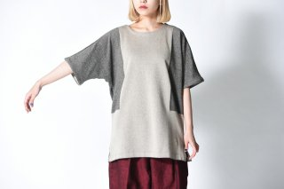 YANTOR 12G Cotton Dolman Knit / gray beige