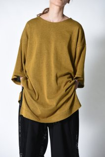 YANTOR 14G Cotton Knit Wide Pullover / mustard