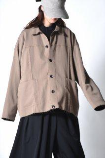 BISHOOL Wool Gabardine Cutoff Jacket  beige