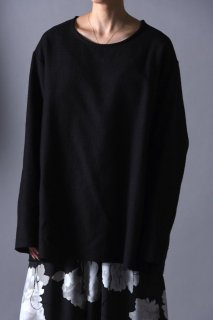 BISHOOL Woven Wool Fabric Cut Off Pullover black