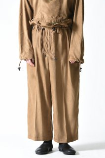 ATHA FAKE SUEDE GATHER WIDE TROUSERS beige