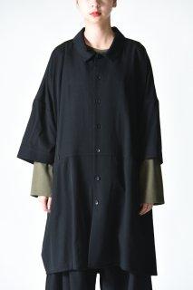 BISHOOL Wool Gabardine Half Sleeve Big Shirt
