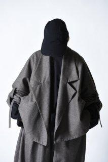 My Beautiful Landlet ウールフラノ袖紐ショートジャケット gray