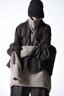 My Beautiful Landlet ウールフラノ袖紐ショートジャケット brown