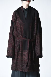 YANTOR  Tibetan Paisley Jacquard Gown Coat red