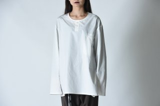 BISHOOL Old Cotton Henry Neck Pullover white