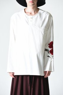 BISHOOL Embroidery Old Cotton Henry Neck Pullover white