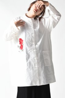 BISHOOL Embroidery Old Cotton China Big Shirt white
