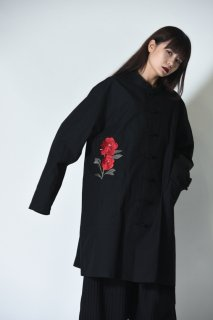 BISHOOL Embroidery Old Cotton China Big Shirt black