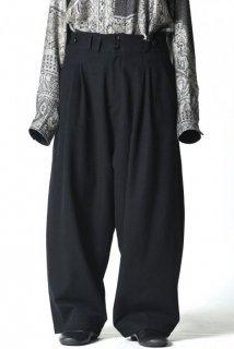 YANTOR  Stone Nep 2 Tuck Wide Pants black