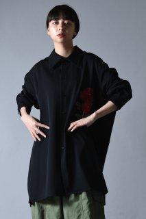 BISHOOL Embroidery Wool Gabardine  LS Big Shirt