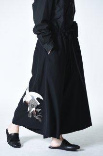 BISHOOL Embroidery Wool Gabardine Easy 袴 Pants peace
