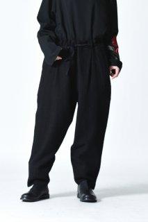 YANTOR Dark Paisley Jacquard Himo Pants Black