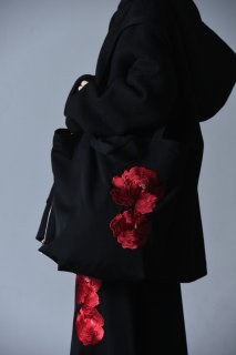 BISHOOL Embroidery Wool Gabardine Shoulder Bag bara