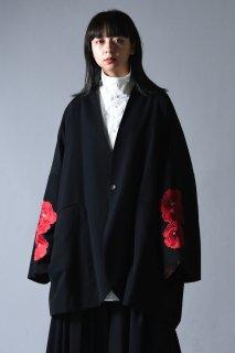 BISHOOL Embroidery Wool Gabardine Kimono Sleeve Jacket bara