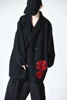 BISHOOL Embroidery Wool Gabardine Double Over Jacket bara