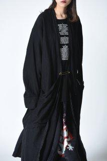 Leh Embroidery Liner Long Coat black