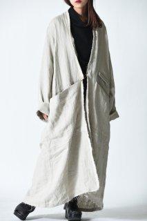 Leh Embroidery Liner Long Coat White