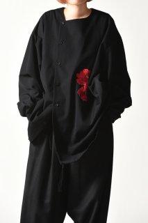 BISHOOL Embroidery Wool Gabardine Asymmetry Shirt