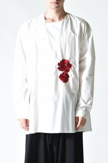 BISHOOL Embroidery Old Cotton Asymmetry Shirt white