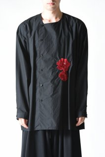 BISHOOL Embroidery Old Cotton Asymmetry Shirt black