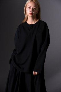 BISHOOL Wool Gabardine Henry Neck Pullover