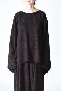BISHOOL Dyed Bleach Twill KIMONO-Sleeve Cut Sew black×red