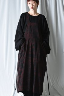 BISHOOL Dyed Bleach Twill All In One Unisex Skirt black×red