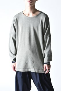 YANTOR Plating knit Dolman Pullover greenish-gray