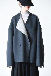 ETHOSENS Cut off jacket blue gray