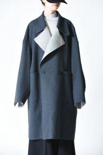 ETHOSENS Cut off coat Blue gray