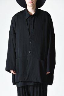 BISHOOL Wool Gabardine Wide Jacket black