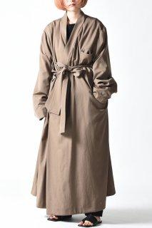 BISHOOL Wool Gabardine KIMONO Long Coat beige