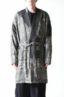YANTOR  Tibetan Paisley Jacquard Gown Coat gray