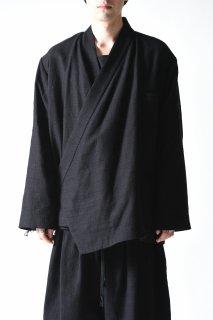 BISHOOL Woven Wool KIMONO Drape Jacket  Black