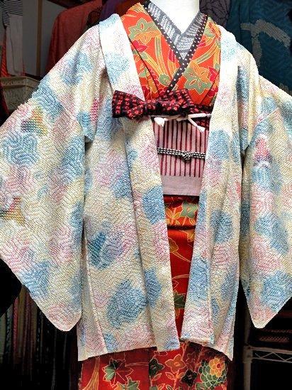 *2割引* 正絹 羽織 ☆☆☆ 【A】 (62/72/48) 毘沙門亀甲 絞り 中古-1