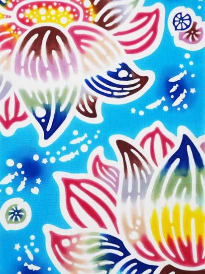 紅若菜×ヤギセイ 紅型デザインの注染てぬぐい「蓮に蛙」 【紅型染め屋 紅若菜】 -1