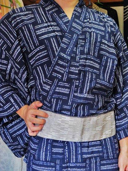 綿 新品浴衣 男物 ☆☆☆☆☆ (73.5/148.5) 絞り 網代紋 L〜LLサイズ -1