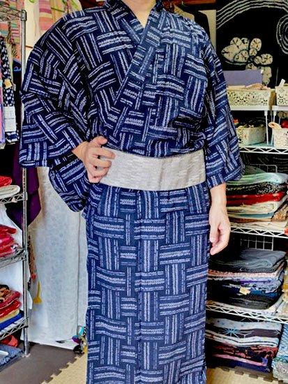 綿 新品浴衣 男物 ☆☆☆☆☆ (73.5/148.5) 絞り 網代紋 L〜LLサイズ -