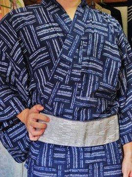 綿 新品浴衣 男物 ☆☆☆☆☆ (73.5/148.5) 絞り 網代紋 L〜LLサイズ