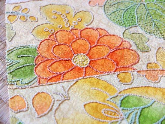 正絹 袷の訪問着 ★★★ 【C/R】(65/155/52)雲取り 植物紋 相良刺繍 中古-
