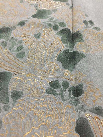 正絹 単衣の色留袖 ☆☆☆ 【A/S】(62/150.5/47)牡丹 鳥 三つ紋付き アンティーク-1