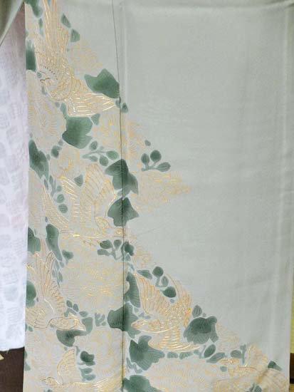 正絹 単衣の色留袖 ☆☆☆ 【A/S】(62/150.5/47)牡丹 鳥 三つ紋付き アンティーク-