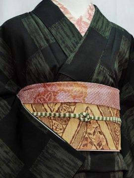化繊 袷の小紋 ☆☆☆ 【C/M】 (66/161.5/49) 石畳紋 絞り風 中古 ●11/2